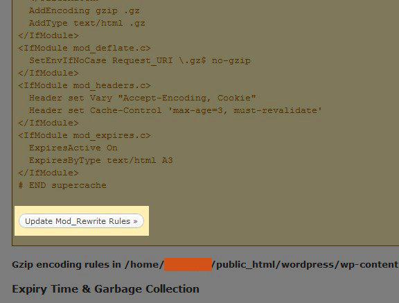 wp super cache Update Mod Rewrite Rules - مجلة ووردبريس
