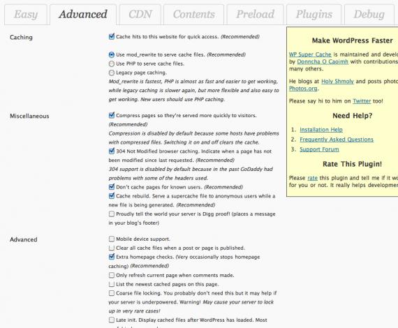 wp super cache advanced settings - مجلة ووردبريس