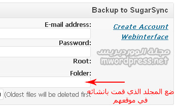 BackWPup SugarSync settings - مجلة ووردبريس