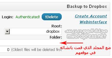 BackWPup dropbox settings - مجلة ووردبريس