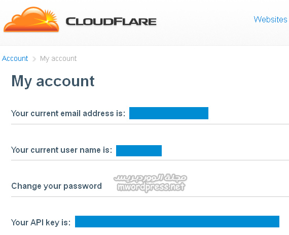 cloudflare api key page - مجلة ووردبريس