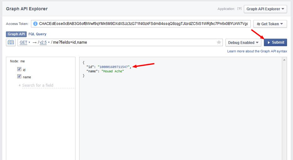 Graph API Explorer facebook userid - مجلة ووردبريس