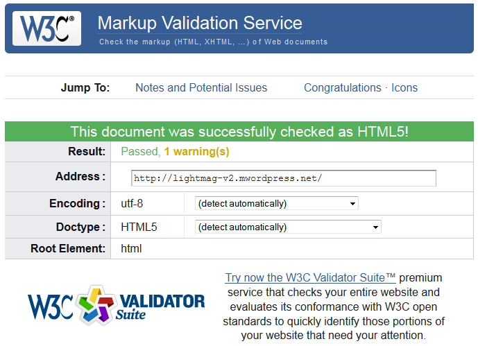 LiightMag v3.1 W3C validation